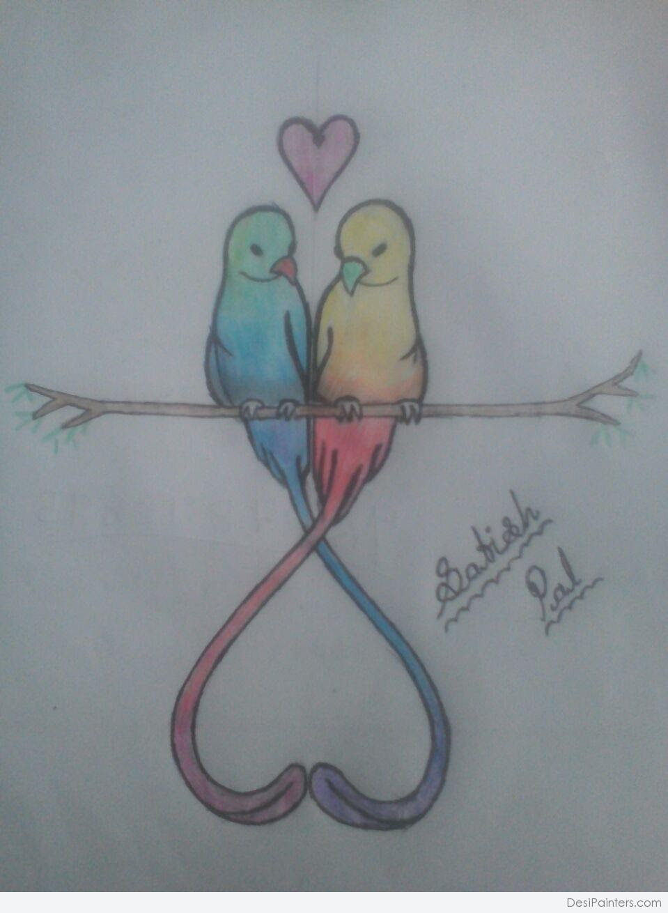 Beautiful Sketches Of Love Birds Drawing Art Ideas