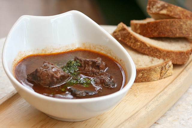 Slow-roasted ox cheeks with homemade sourdough bread