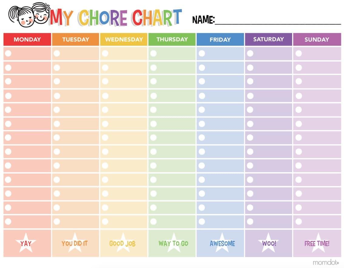 Free Printable Chore Chart - MomDot
