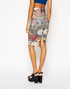 Image 2 ofASOS Scuba Pencil Skirt In Geo Floral Print