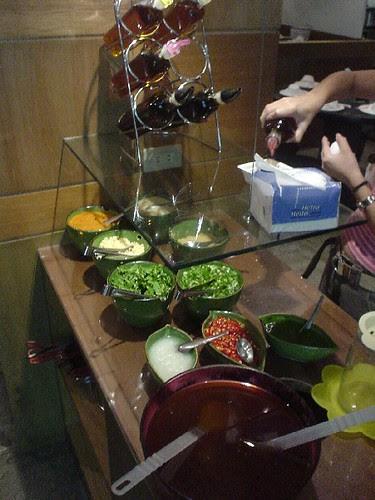 Check out the huge bowl of sa cha sauce at the bottom