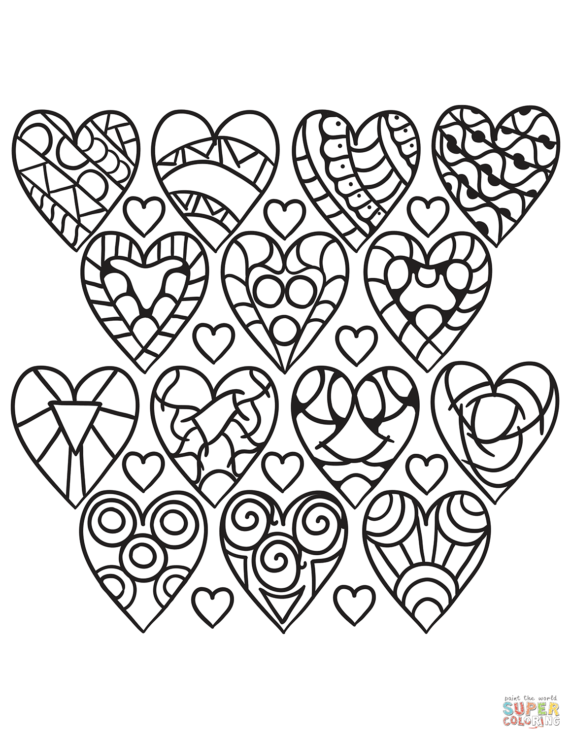 Hearts Pattern coloring page | Free Printable Coloring Pages