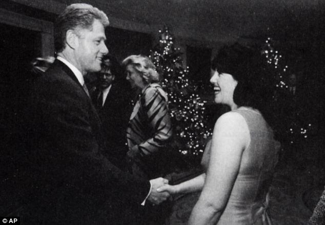 Look of love: Lewinsky and Clinton are pictured together in December 1996. On the tape, she reportedly told him she could take off her clothes or suggested they went to a movie and had dinner together