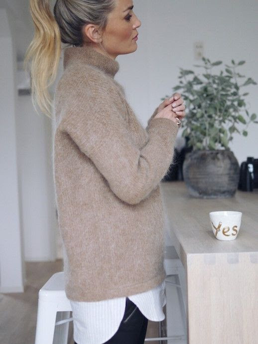 Le Fashion Blog Messy Bun Textured Funnel Neck Sweater Striped Button Down Shirt Layer Coated Leather Pants Blogger Style Via Camilla Pihl