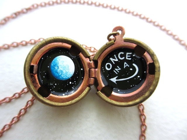 Blue Moon Locket - One of a Kind, Hand-painted in Oil - Black and White Starry Outerspace Background