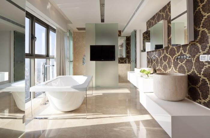 Mosaic tile bathroom suite