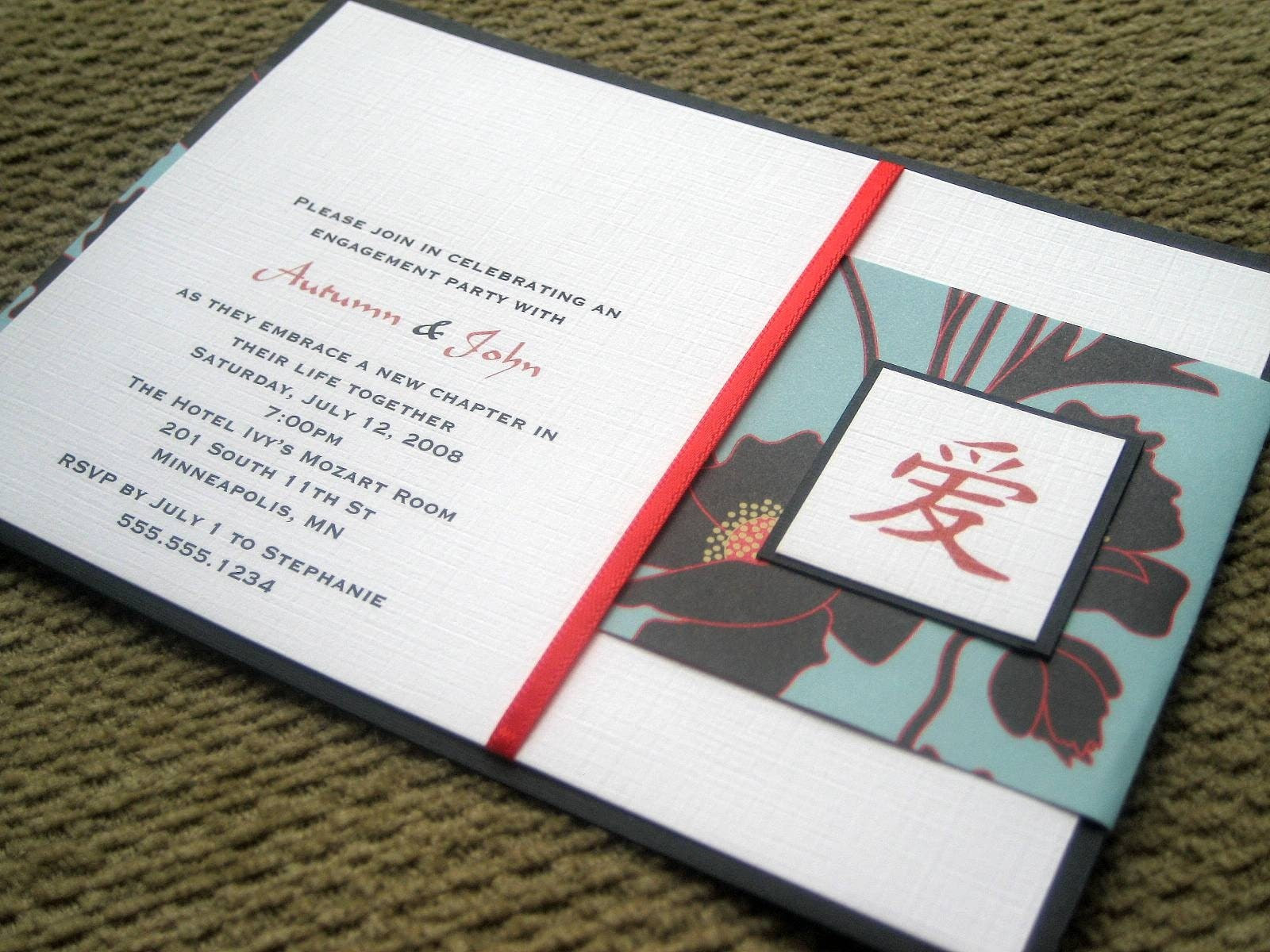 Love - Engagement Party Invites - Shower or Wedding Invitations - Set of 10