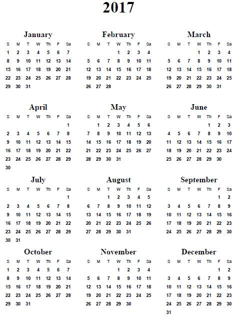 2017 Calendar 1 Page Printable   2017 calendars