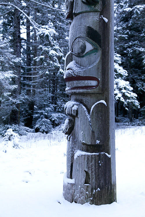 totem with snow, Kasaan, Alaska