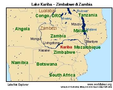 Lake Kariba Africa Map   Map North East
