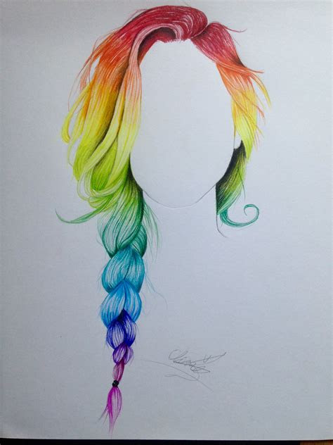 rainbow braid hair drawing drawings   draw hair