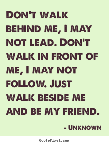 Friendship Quote Dont Walk Behind Me I May Not Lead Dont
