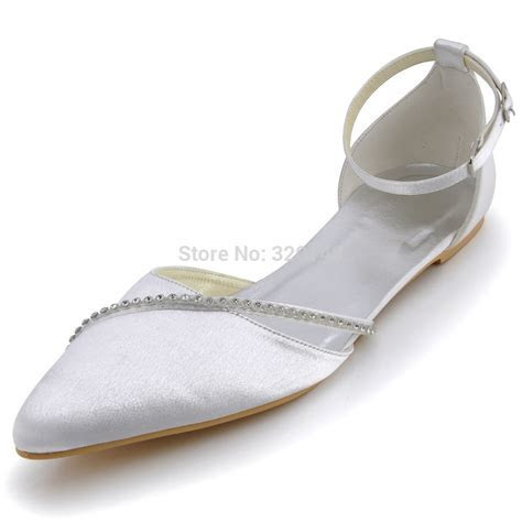 Women Wedding Shoes White A670 Pointed Toe Rhinestones