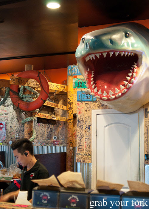 shark decor dining room Seafood Boiling Crab Korea Town Los Angeles California