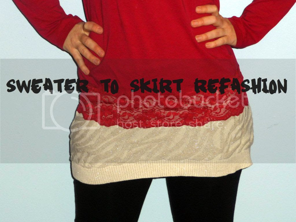 sweater to skirt refashion