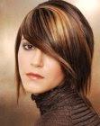 Medium length hairstyle with side-fringe photo