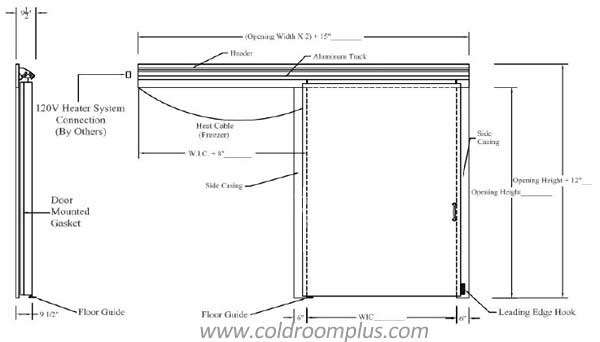 sliding door drawing for cold room