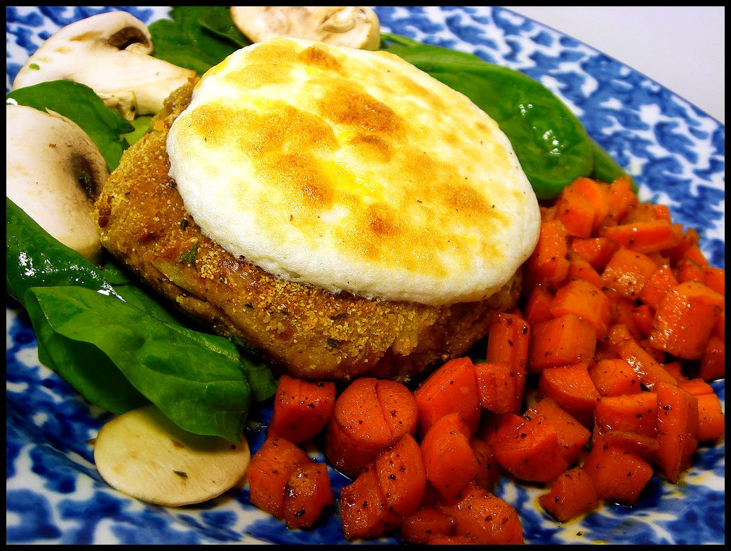 Tuna Patty with Broiled Mayo Topping and Glazed Carrots