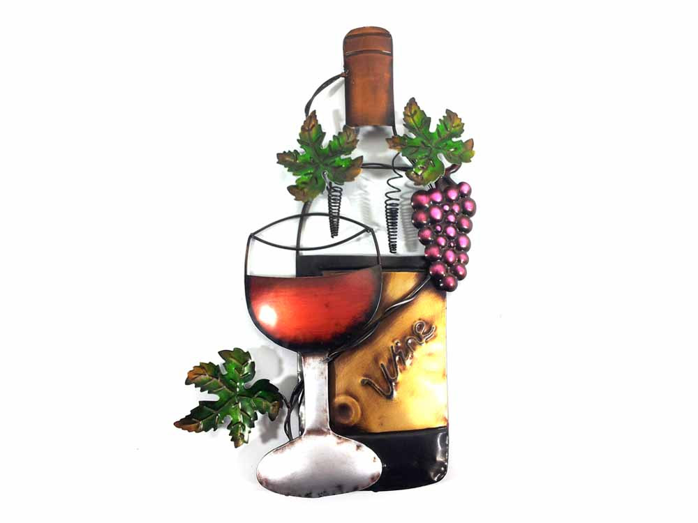 Metal Wall Art Wine Glass Bottle And Purple Grape Scene