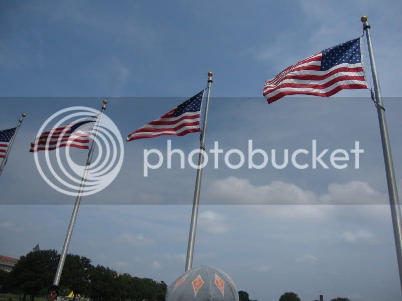 washington monument american flags