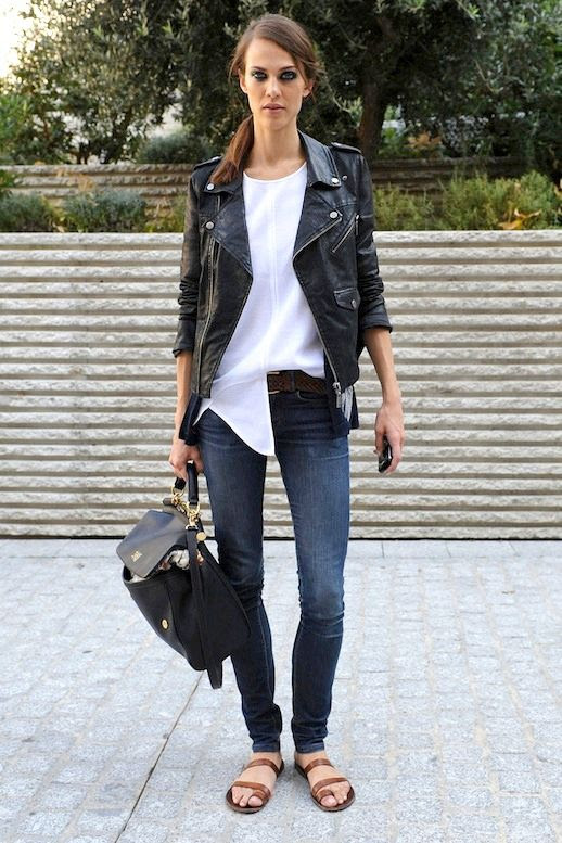 Le Fashion Blog Model Off Duty Street Style Aymeline Valade Paris Fashion Week Black Leather Moto Jacket White Crewneck Ribbed Top Half Tuck Braided Belt Side Part Hair Ponytail Beauty Smoky Eye Skinny Dark Wash Jeans Dolce Gabbana Sicily Dauphine Top Handle Satchel Bag Strappy Brown Tan Toe Ring Loop Sandals Via Style Bistro 1 photo Le-Fashion-Blog-Model-Off-Duty-Street-Style-Aymeline-Valade-Paris-Fashion-Week-Leather-Moto-Jacket-Via-Style-Bistro-1.jpg