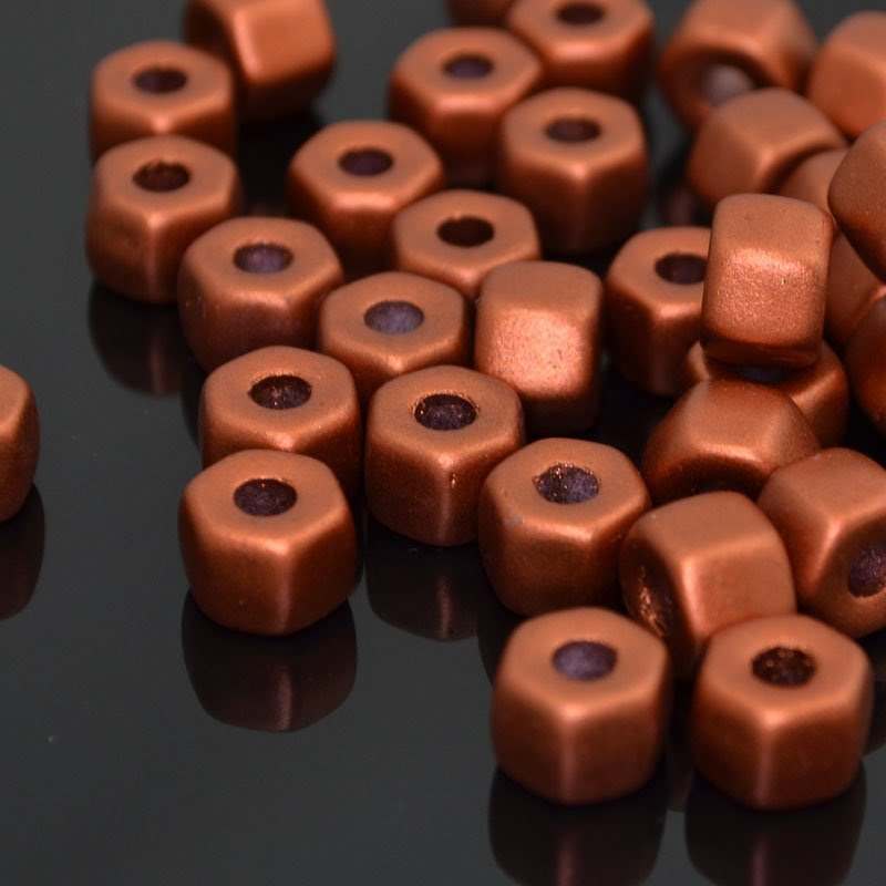 s41984 Glass - 9 mm Hexa-Nuts - Silky Old Copper (25)