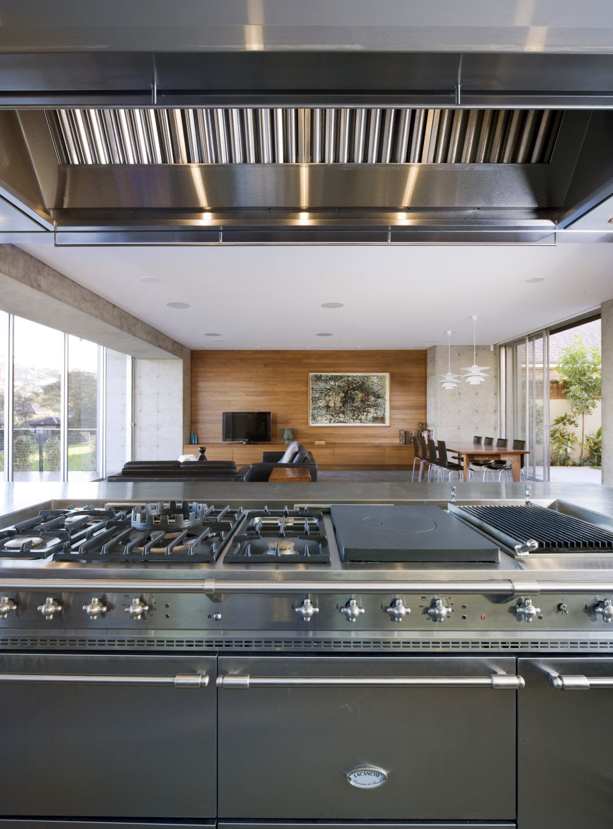 Modern Kitchen Interior Design With Metal Grey Faces To Living Room