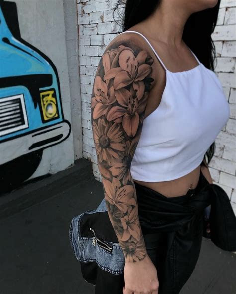 pin percy tattoos full arm tattoos floral