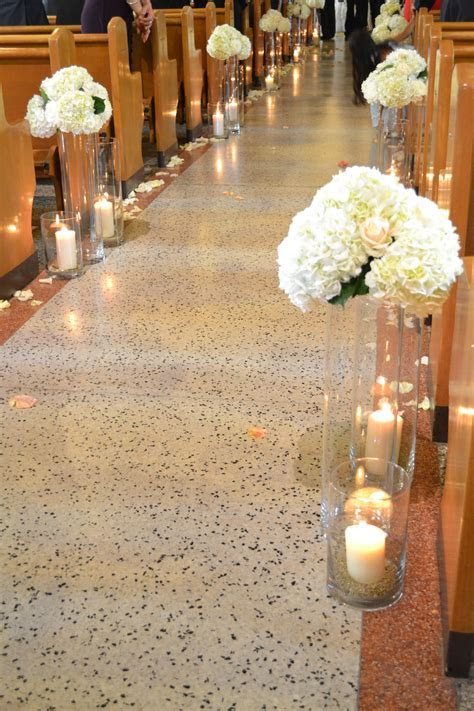 #wedding #church #ceremony #candles and flowers along #