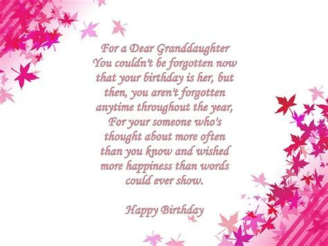 Granddaughter Birthday Verses   Card Verses, Greetings And