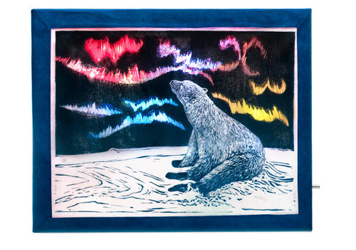 Polar Bear and Aurora Lightbox