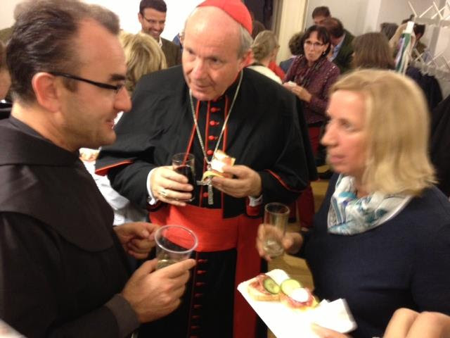 Cardinal Schoenborn and Marija speak with Fr. Merinko in Vienna