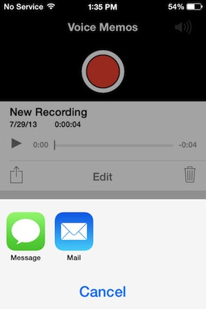 Sharing Voice Memos from the iPhone through message, mail, or apps