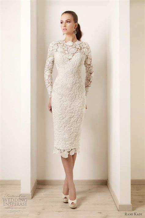 2015 Wedding Dresses Ivory Lace Long Sleeves Tea Length