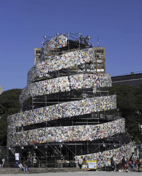 "The Argentine artist Marta Minujin used thousands of books written in different languages ​​to build the work ""Tower of Babel"" in Buenos Aires in 2011"