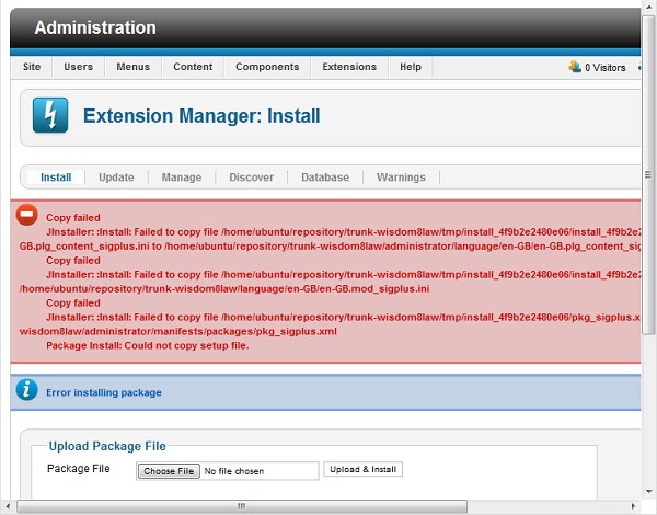 Joomla Extension Manager Install Error Installing Package