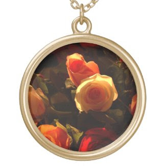 Roses I - Orange, Red and Gold Glory Personalized Necklace