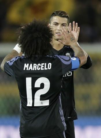Crsistiano Ronaldo e Marcelo (Foto: EFE)