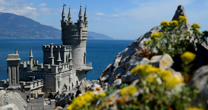 Swallow's Nest is a monument of architecture on top of the Aurora Cliff overlooking the Cape of Ai-Todor in Yalta, the Crimea.