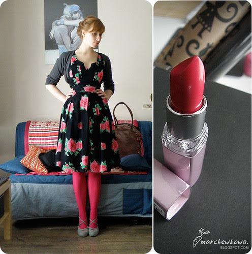 marchewkowa.blogspot.com, j.z., fashion blog, sukienka vila, piksi, minna parrika, moda 2009, vintage, maybelline, szminka,