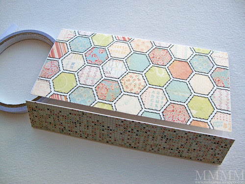 5) finish the matchbook note book - A) Adhere the background piece & the rug piece