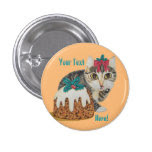 cute kitten grey tabby with pudding christmas 1 inch round button
