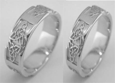 Irish 14k White Gold Celtic Knot Wedding Band Ring Set