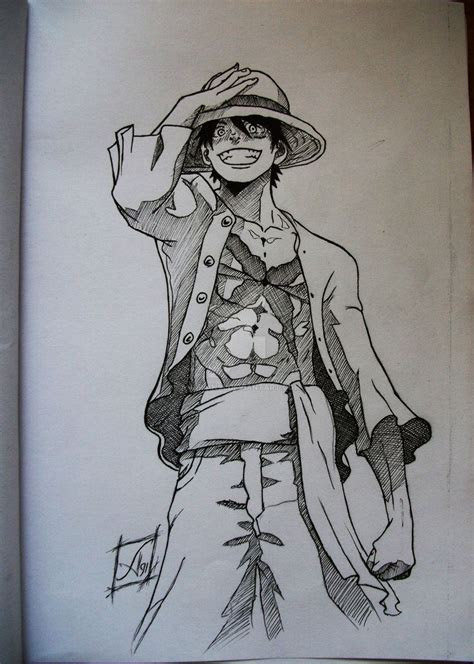 luffy ink  andrian  piece  piece drawing