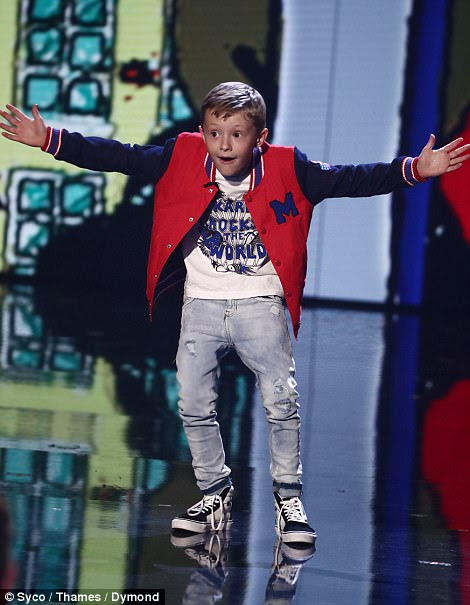 Taking no prisoners: In his act, the youngster savaged Gary Barlow, calling him a 'tedious singing robot', before making a jibe at hosts Ant and Dec for their height