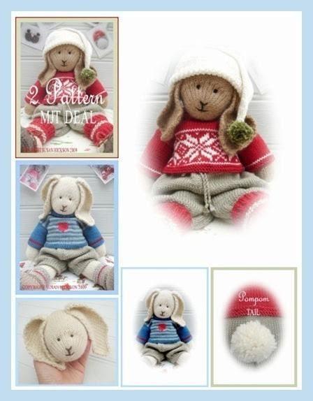 Bo / Oscar/ 2 Toy Pattern MJT Deal /Boy Bunnies /PDF Email Toy Knitting Patterns
