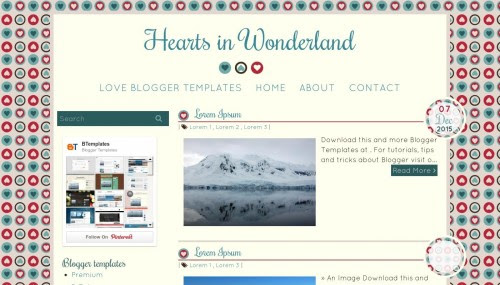 """Hearts in Wonderland"" Craft Blog Template Free + Cute Design"