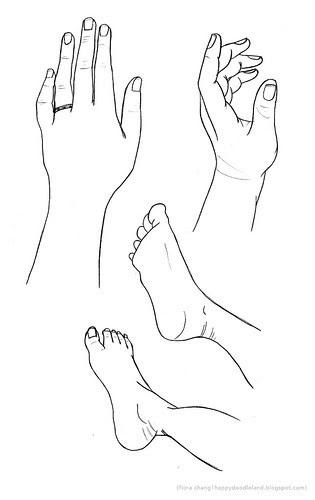 Practice sketches of my feet and left hand