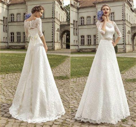 Amzing Bateau Half Sleeve Wedding Dresses 2015 Illusion