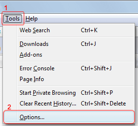 Firefox Cookies - Tools>Options